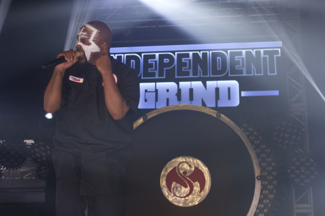 """Tech N9ne performs at the """"Independent Grind Tour"""" at the Plaza Live in Orlando, Fla. on April 17, 2014. (Ty Wright / Valencia Voice)"""