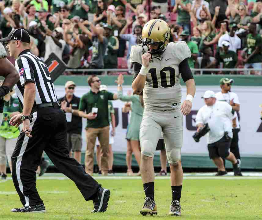 McKenzie+Milton+threw+for+225+yards+and+had+two+interceptions+in+the+Knights+regular+season+ending+loss+to+the+USF+Bulls.