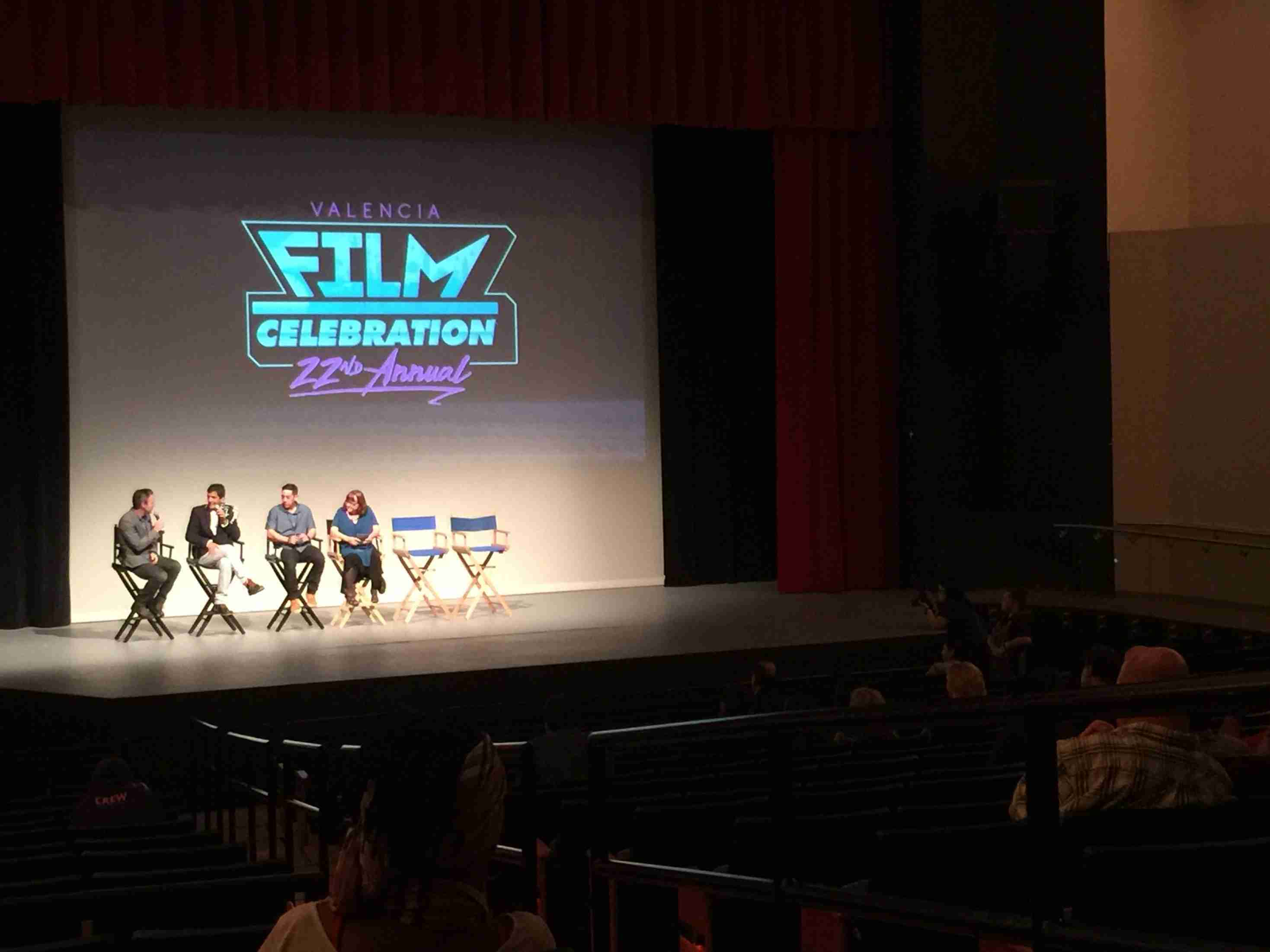 Eric Fleming, Valencia's Film Program Director, shares the stage with Julio Uchoa, Jose Cartagena, and Colleen Carr during a Q&A session.