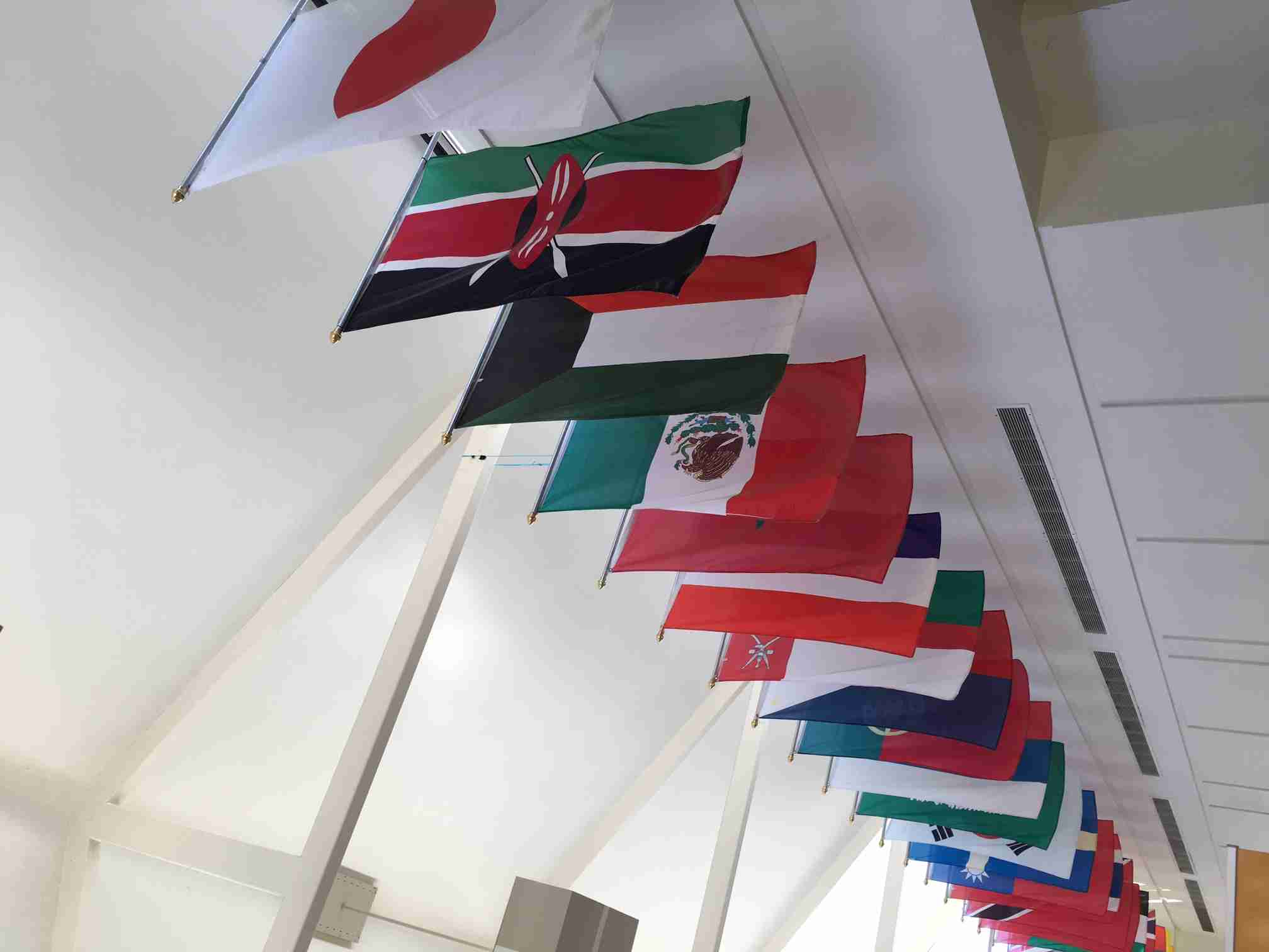 International flags displayed on East Campus Building 5