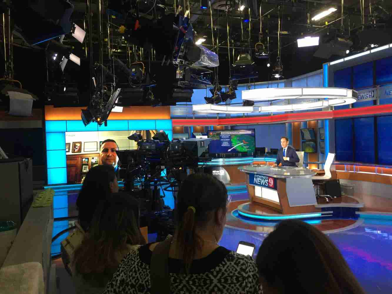 JOU1030 Media Production Class watches WFTV Anchor Greg Warmoth interview U.S. Congressman Darren Soto about the hurricane that slammed Puerto Rico.